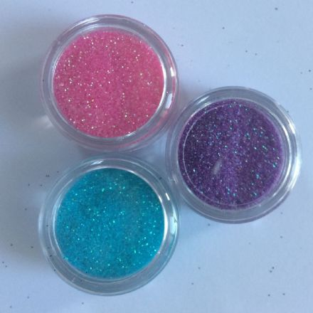3 x 5g FINE COSMETIC IRIDESCENT GLITTERS  -  PINK/LILAC/TURQUOISE